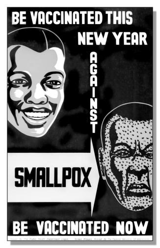 Smallpox was officially eradicated in 1980. Eradication was based on advances in science, technology as well as public health.  The causative agent now only offically exisits in two military labs, one in Russia and one in the US. The research which continues on this pathogen is a cause of concern for some commentators. This is because some research involves making more virulent and deadly strains of the smallpox pathogen