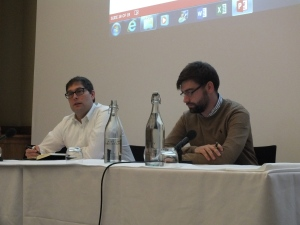 David Galbreath and Brett Edwards presenting at the meeting 'Biological and Chemical Security in an Age of Responsible Innovation' Held at the Royal Society, London and hosted by the Biochemical Security 2030 Project. Image: R.guthrie.